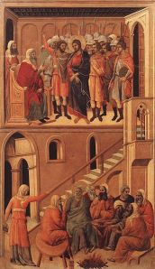 Duccio di Buoninsegna: Christ before Annas and Peter Denying Jesus