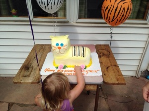 Bea with her Tigy cake